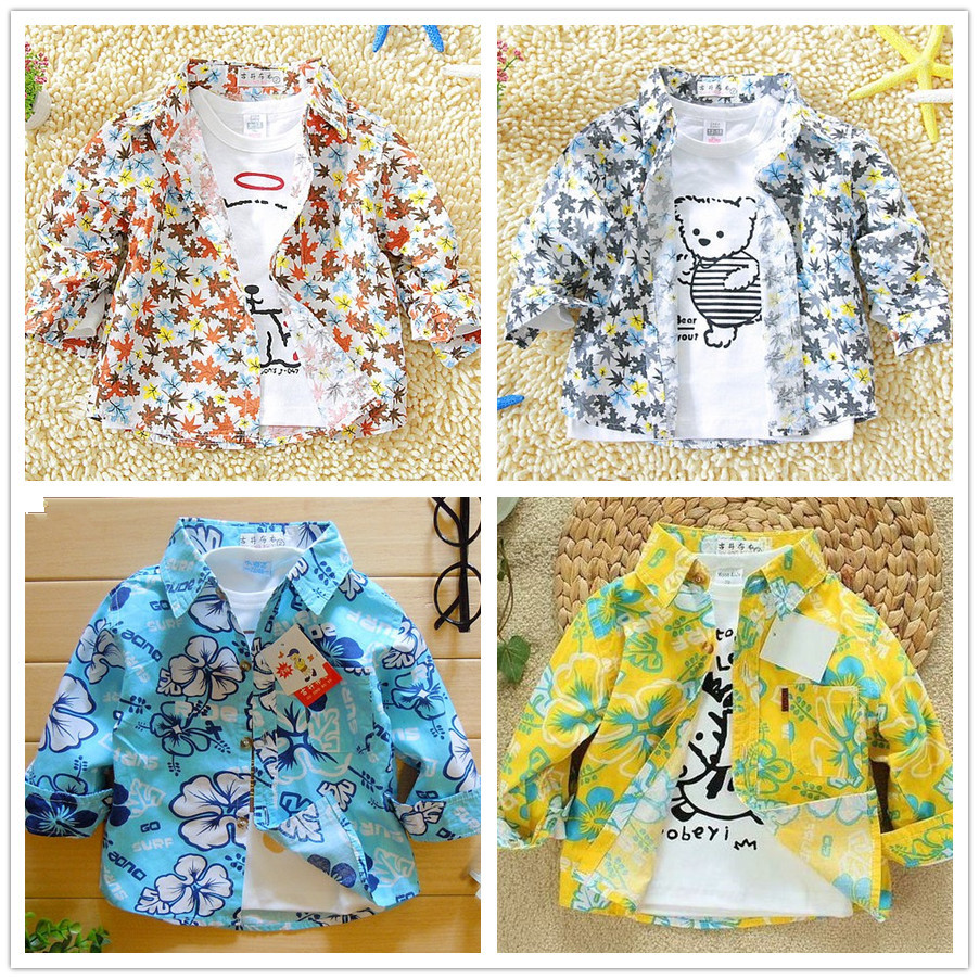 2014 spring baby clothing boys shirts long sleeve children outerwear autumn - summer cotton kids flower printed Handsome KID store