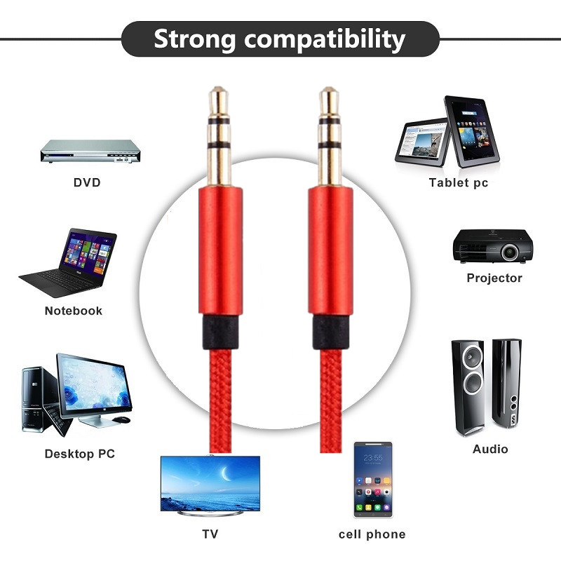 AUX Cable-Nylon,0.3m 1m 2m 3m 5m, Copper Shell/Ultra Durable] 3.5mm Premium Auxiliary Audio Cable for Car Home Stereos Beats and(China (Mainland))