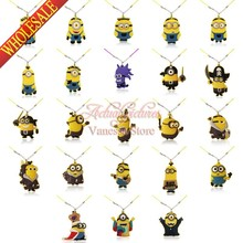 Suit sets Minions Despicable me 2 Pendant Necklaces For Kids Child Jewelry Cosplay Character Christmas Gift travel accessories(China (Mainland))