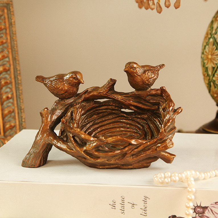Home decor zakka creative resin card case european bird 39 s for The nest home decor