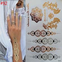 Временные татуировки золото ожерелье браслет татуировки продукты металлические временные татуировки женщины татуировки flash металла поддельные золотые и silve(China (Mainland))