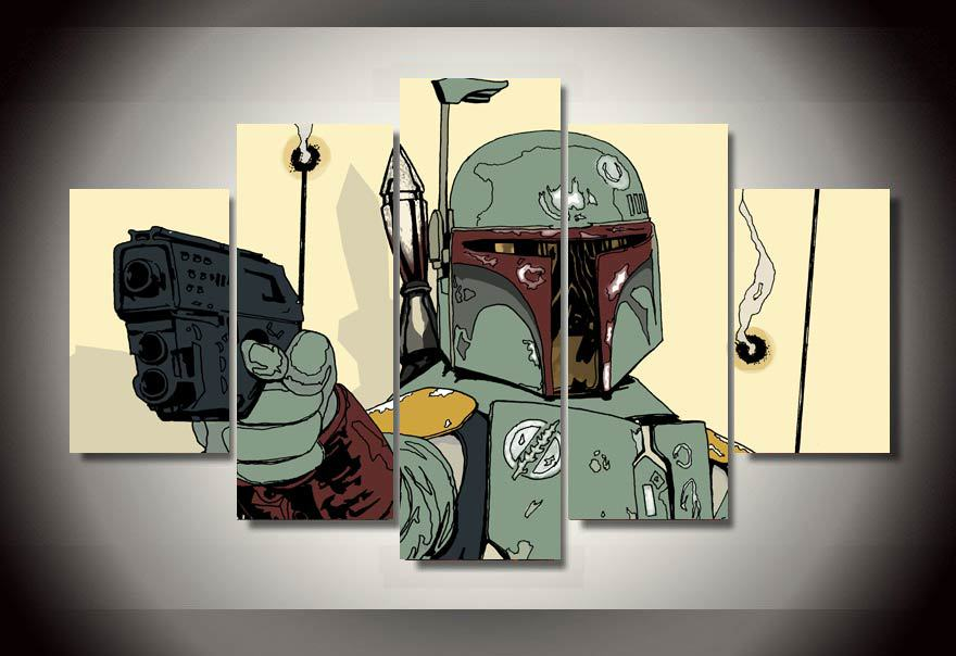 Framed Printed Star Wars Comics 5 Piece Picture Painting