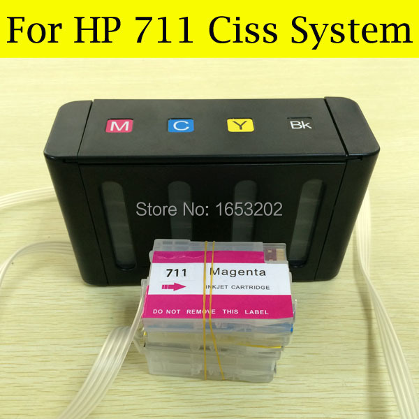 Free Post !! Continuous Ink Supply System For HP T120 T520 With Empty Ink Cartridge For HP 711 Ciss(China (Mainland))