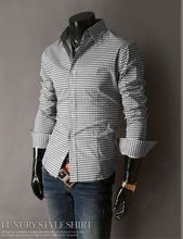 Mens Casual Slim Luxury Stylish Tartan Design Formal Shirts Casual Shirt QWB