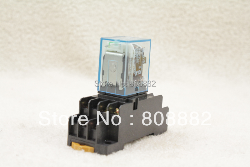 free shipping A Set of Base and Coil Power Relay 11pin 3NO 3NC MY3NJ HH53P-L LED Lamp 5A DC24V(China (Mainland))