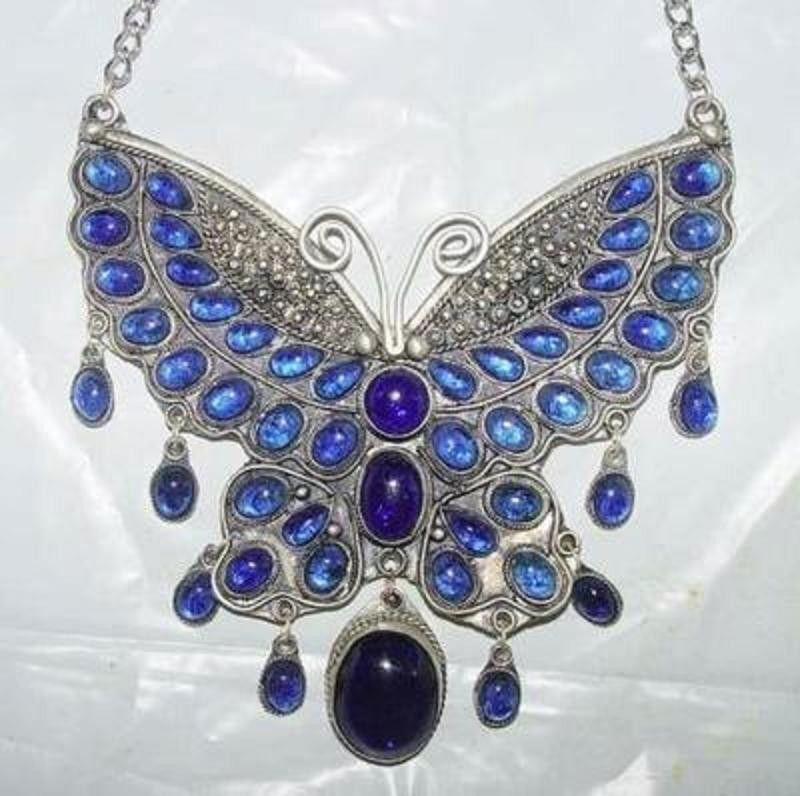 Jew3107 Chinese tibet silver inlay blue Jade Butterfly Necklace (A0513)(China (Mainland))
