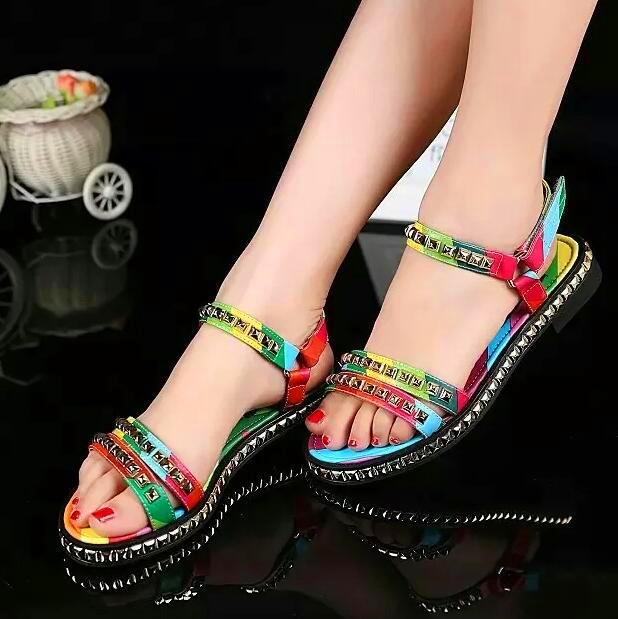 2016 Summer Newest  Women Gold Rivet Stud Rainbow Flat Heel Sandals Brand Designer Ladies Famous Shoes sandalias mujer zapatos