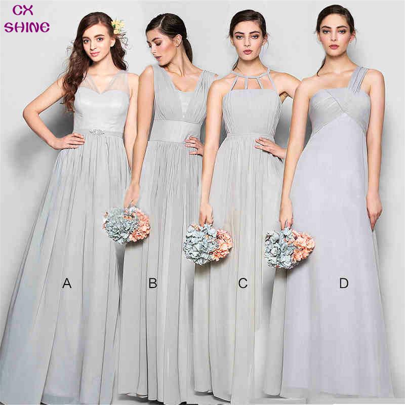 CX SHINE Custom color!New Chiffon 4 style long Bridesmaid Dresses colors gray wedding Prom Dresses party gowns vestido de noiva