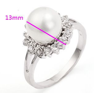1 pc 14K White gold filled 100% pure Zircon pearl Precious Luxurious engagement ring Christmas gifts size 7 - ANN' Shop store