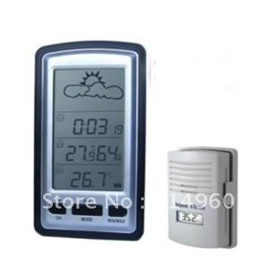 Wireless LCD Weather Station Temperature Sensor 100M Clock free Shipping