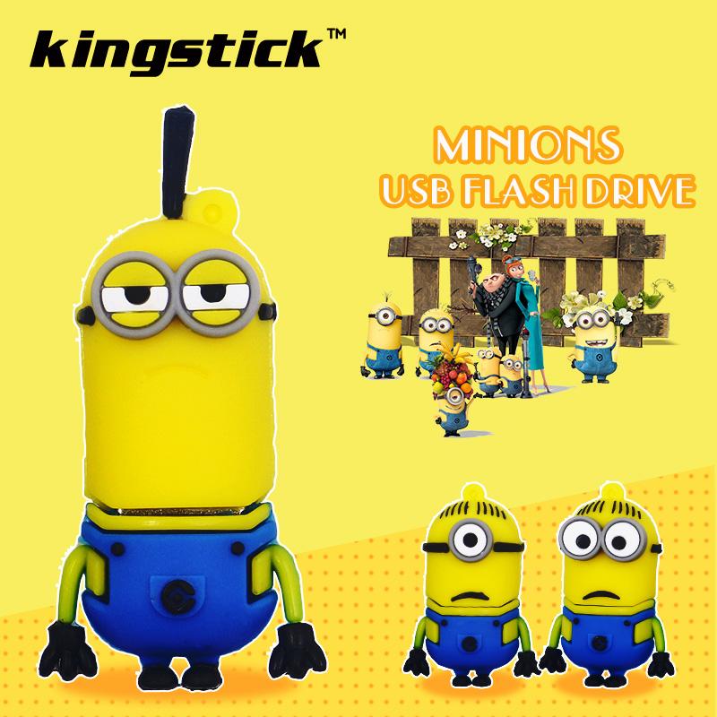 Kingstick USB Stick 64GB 32GB pen drive Cartoon Minions usb flash drive 16GB 8GB 4GB pendrive flash memory stick U disk(China (Mainland))