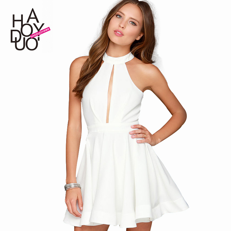 sexy hollow out backless dress halter off shoulder dress A-line women dresses for wholesale and free shipping haoduoyi(China (Mainland))