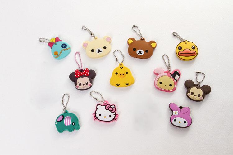 Kawaii Animal Silicon Key Caps Covers Keys Keychain Case Shell Novelty Item Christmas Gift For Girlfriend(China (Mainland))
