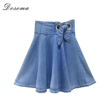 Buy DOSOMA Sexy Short Skirts Women Solid Denim Blue High Waist Elastic Bow Tutu Mini Skirts Summer Flared Pleated Jeans Skirts for $17.61 in AliExpress store