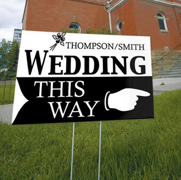 1 X Personalized Outdoor Wedding Reception & Ceremony Decoration Directional Signs this way sign board guild board(China (Mainland))
