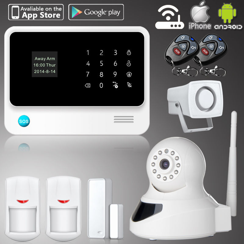 2.4G WiFi Alarm System Wireless GSM Home Security Alarm System IOS Android Control IP Camera(China (Mainland))