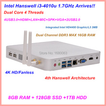 New Arrival Fanless System Core i3 Mini PC With 1.7GHz Dual Core 4 thread CPU 8G DDR3+128G SSD+1TB HDD (China (Mainland))