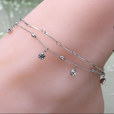 2015 1pc Unique Beautiful Inlaid Rhinestone Anklet Foot Jewelry pulseras Anklet for women Chain on foot swimming Ankle Bracelet(China (Mainland))