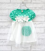 New baby girls dress 4 colors flowers dot kids mesh dress infant princess dresses for girls short sleeves baby dress for girls(China (Mainland))