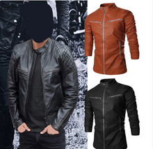 Leather Jacket Men Stand Collar Autumn New Men's leather Jacket +Locomotive style Men's Slim Fit Leather Clothing Black Brown(China (Mainland))