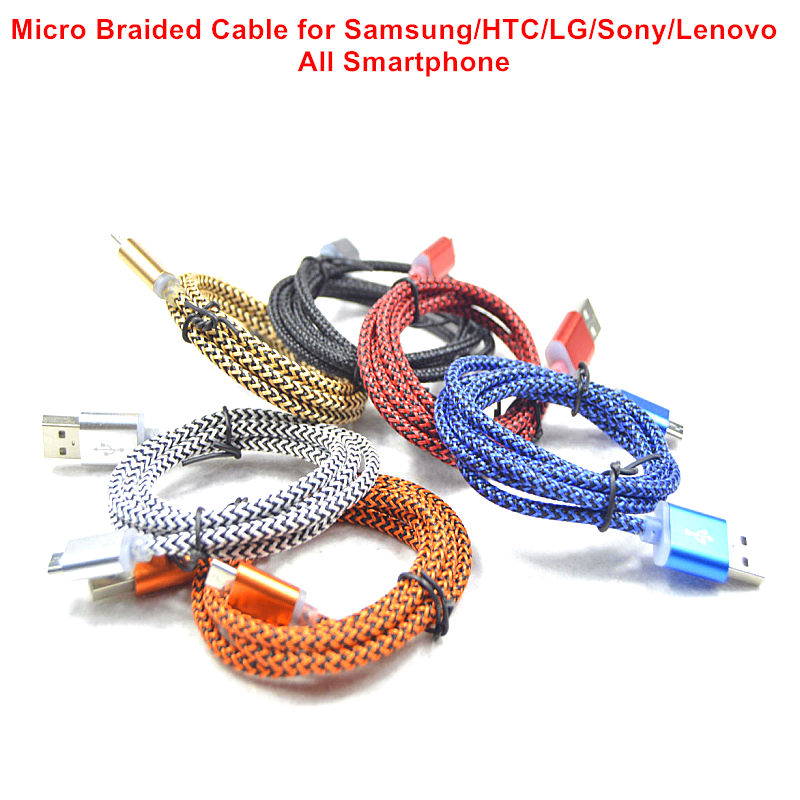 1M Fabric Nylon Braided 2A micro usb cable Data & Sync Charger for Samsung For Blackberry for huawei for lg Charger Cable(China (Mainland))