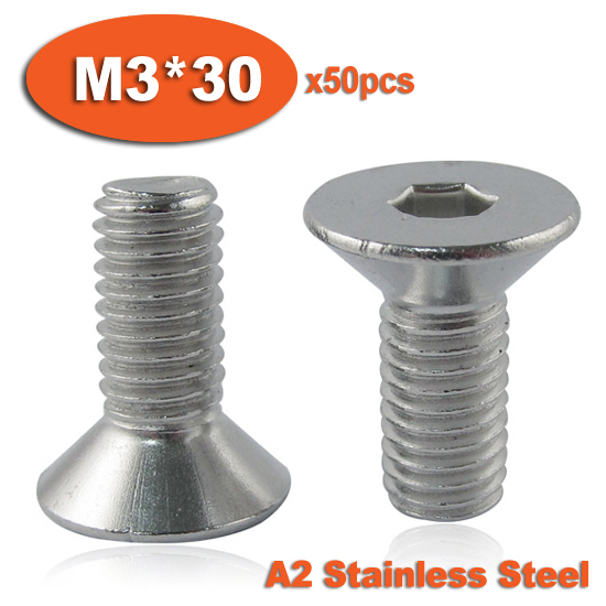 50pcs DIN7991 M3 x 30 A2 Stainless Steel Screw Hexagon Hex Socket Countersunk Head Cap Screws<br><br>Aliexpress