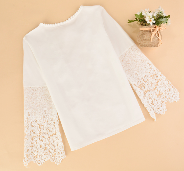New 2016 Spring Women Lace shirt Fashion Long sleeve Chiffon Patchwork blouse shirt Plus size women tops S-XL chiffon shirt 58