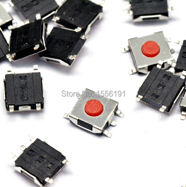 100pcs 5pin Tactile Push Button Switch 6*6*2.7mm The patch Red button Waterproof copper head Micro Switch(China (Mainland))