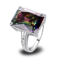 Moda Champagne Morganite rosa do arco-íris Topaz ametista Red garnet 925 anel de prata tamanho 7 8 910 jóias atacado grátis frete