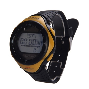 Promotion New Arrival Yellow Hi- Power Round Dial Digital Watches Waterproof Sport Solar Power Watch Women Men