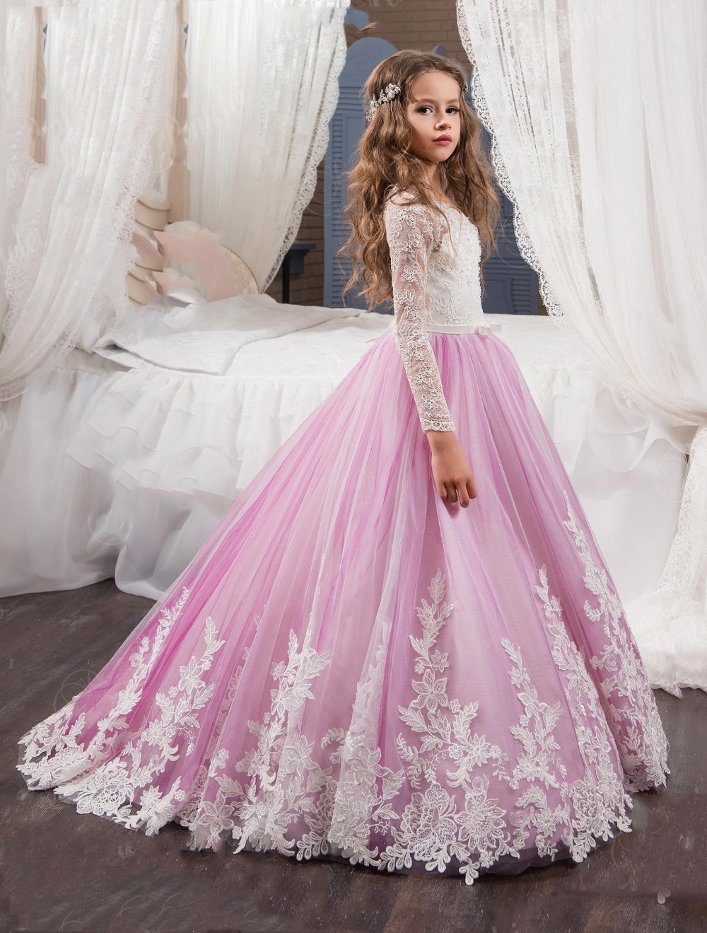 2017-Princess-Long-Sleeves-Lace-Flower-Girl-Dresses-2017-Vestidos-Puffy-Pink-Kids-Evening-Ball-Gown