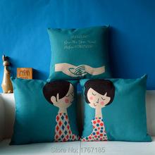 Created Boys and Girl Pillowcase Vintage Cotton Linen Cushion Decorative Pillows Home Decor Sofa Throw Pillow 45*45 Almofada(China (Mainland))