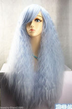Wholesale& heat resistant LY free shipping>>>New Cosplay Long Light blue Sexy Curly Lady Heat Resistant wig
