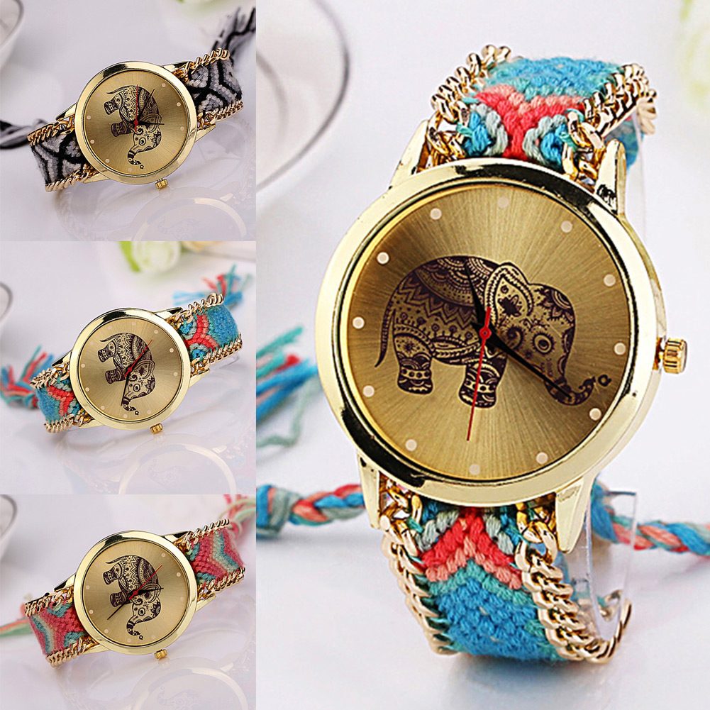 New Hot Unique Braided Rope Elephant Bracelet Watches Bohemian Hand Made Watch Women Quartz Wristwatch