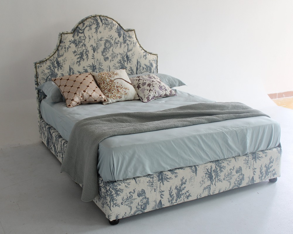 Elegant and delicated handmade chinese style fabric bed for Home furnishing china