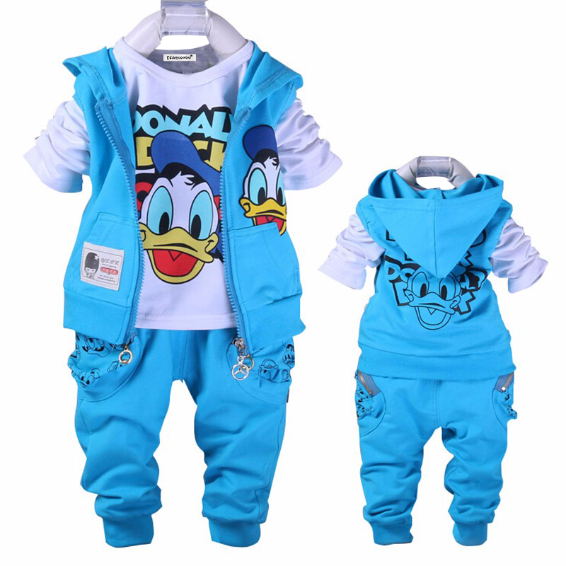 Baby Donald Duck Baby clothing boys and girl Set sport Suit 3Pcs vest+T-Shirt+Pants baby Summer Sets baby clothing(China (Mainland))