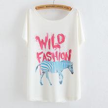 2015 Summer Tops T-shirt Women T Shirt Animal Print Totoro Camisetas Mujer Femme Loose Tops Ladies Clothing Womens Tees Casual(China (Mainland))
