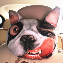 Cool 3D Printed SharPei Dog Face Car Neck Pillow Soft Auto Head Neck Rest Cushion Headrest Pillow, Activated Carbon Seat Covers(China (Mainland))