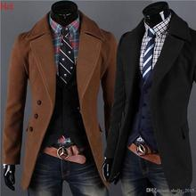 Hot Gentleman Single Breasted Coats Luxury Lapel Winter Jacket Slim Clothing M-XXL Woolen Jacket Casual Black Brown Outwear 8049(China (Mainland))