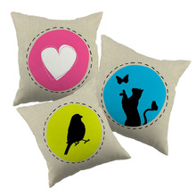 Birds and animals inside circle cushion covers