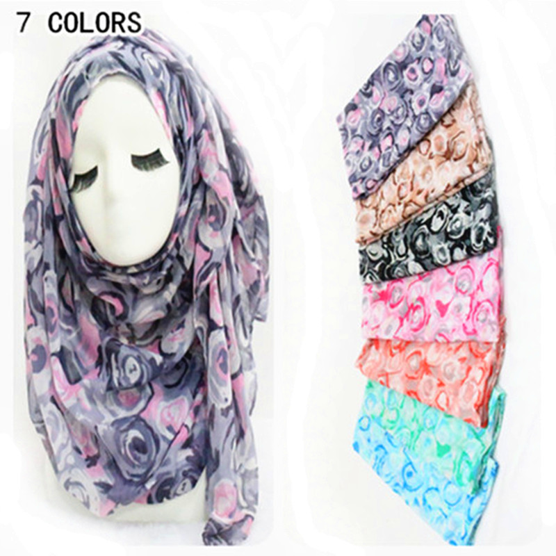 2016Floral Scarf Women Cute Rose Pattern Shawl Wrap Fashion Islamic Head Scarves Romantic Fashion Large Muffler(China (Mainland))