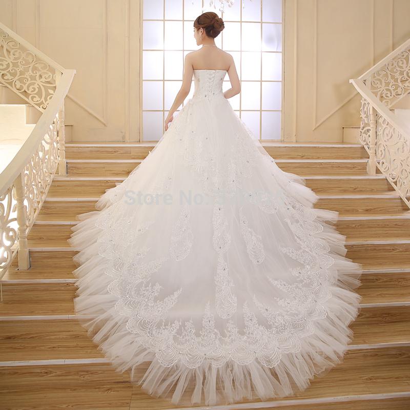 Top Luxury Wedding Dress : Luxury tube top long trailing wedding dress beading bride formal