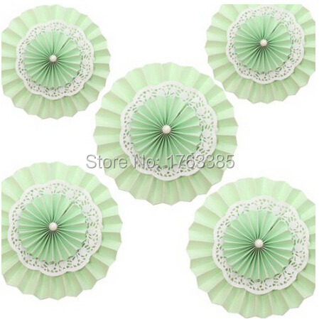 5Pcs Mixed 10'' 14'' Green Lace Flower Hanging Paper Fan Pom Poms Birthday Christmas Bridal Shower Party Favors(China (Mainland))