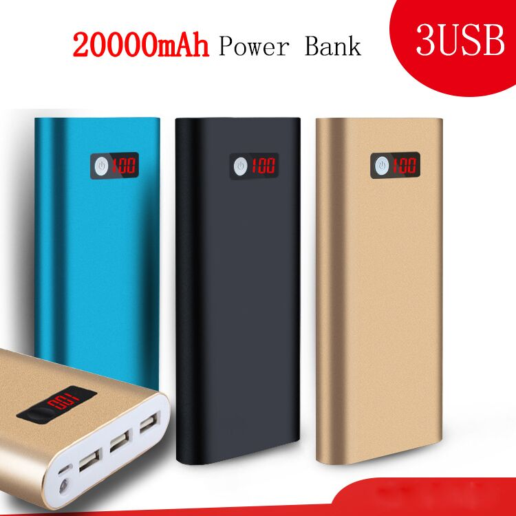 20000mah Power Bank external battery pack 3 USB charger Portable metal charger for all phone(China (Mainland))