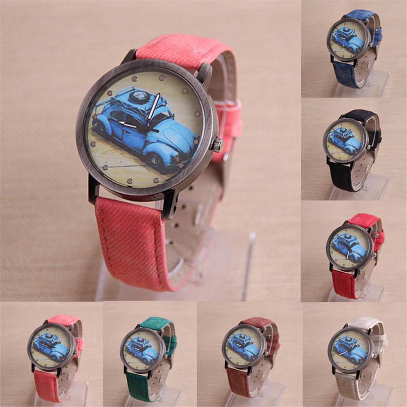 Hot Marketing Retro Car Painted Pattern Women Canva Leather Watch Quartz WristWatch Jun10(China (Mainland))