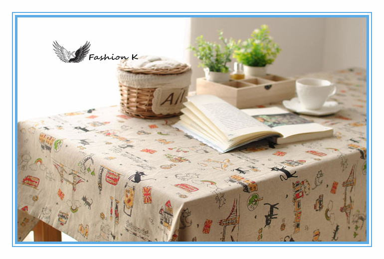 Adorable cat Korean Lovely Cartoon Black cat The tablecloth Cafe table Coffee Table cloth Cotton Linen Tablecloths cover mzb024(China (Mainland))