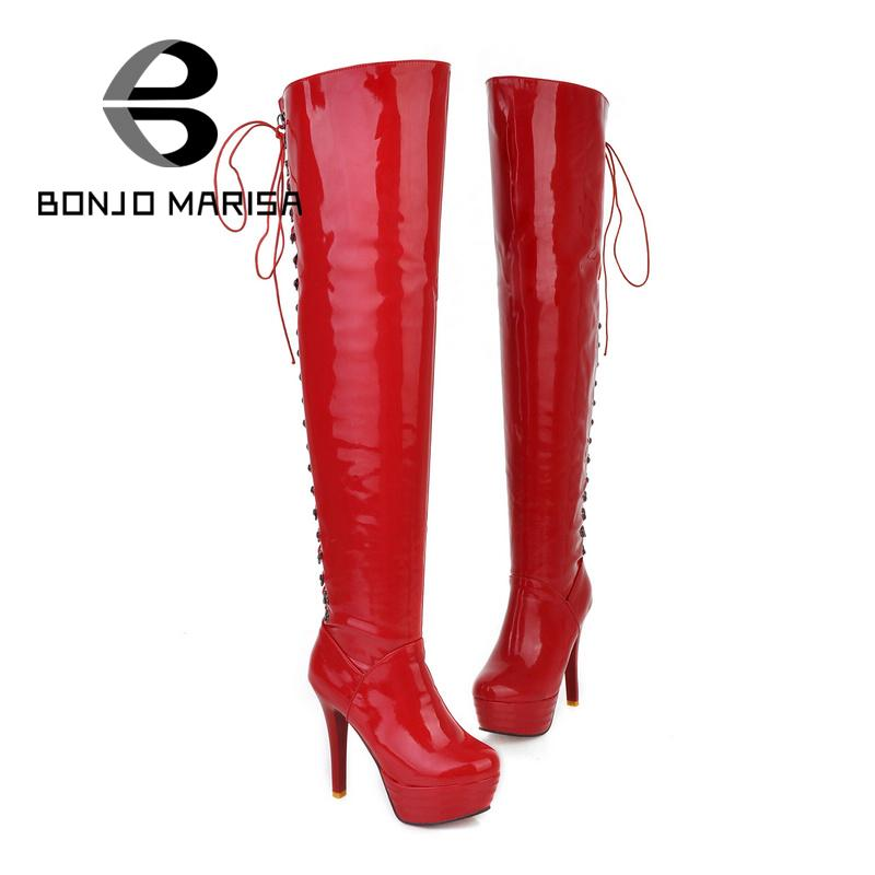 Women's Lace Up Over The Knee Boots Sexy Red Bottom Long Boots Platform Stiletto High Heels Round Toes Ladies' Shoes