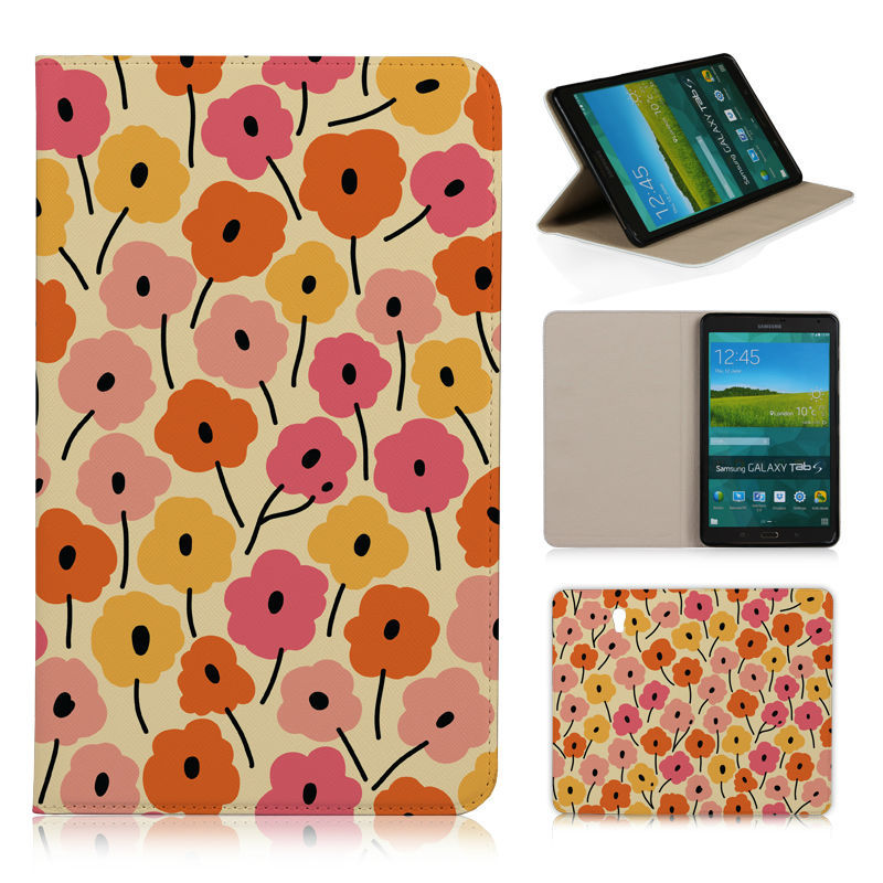 BTD Orange Flowers Texture Stand leather case photo frame flip cover for SAMSUNG GALAXY Tab S T700 8.4 Free film N026-T700(China (Mainland))