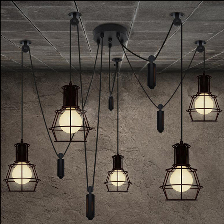 Loft Industrial Style Iron Cages Pendant Light Bar Counter Loft