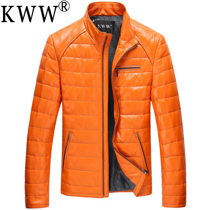 2016 New Korean Slim Men's Leather Sheep Skin Genuine Jacket Men Warm 100% Winter Jackets Coats - 6Extra Large Store store
